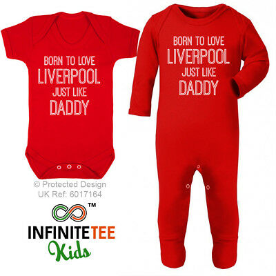 Born To Love Liverpool Like Daddy - Baby Grow Funny Newborn Football Vest Club
