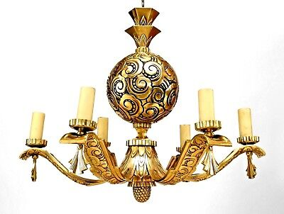 French Art Deco Bronze Chandelier
