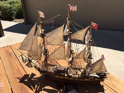 Antique British Fighting Ship Model Fully Assembled