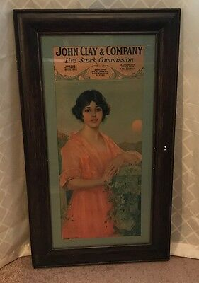 Vintage John Clay Live Stock Commission Framed Advertising