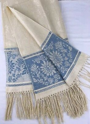 "Unused 24"" x 40"" Antique Fringed Linen Damask Show Towel Lt Blue & Ecru Flowers"