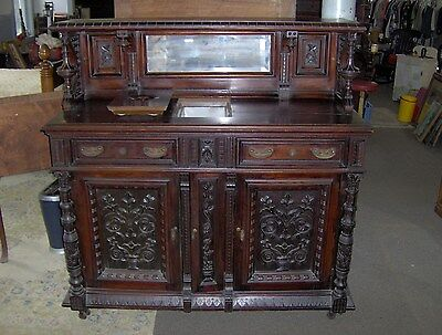 Antique 1880's Victorian Eastlake Parlor Ice Box High Style Super Rare !!