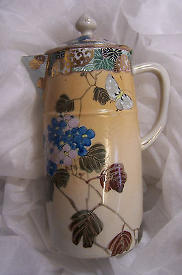 Vtg Japanese Ceramic COFFEE Pitcher w Lid, Hand Painted Art Nouveau Butterfly