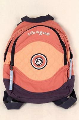 Life Is Good Canvas Cotton Embroidered Peach Navy Book Bag Small Backpack Kids