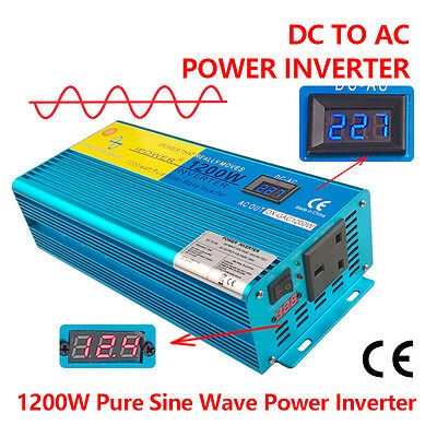 1200W / 2400W Pure Sine Wave Power Inverter 12V to 230V LED CAR CARAVAN CAMPING