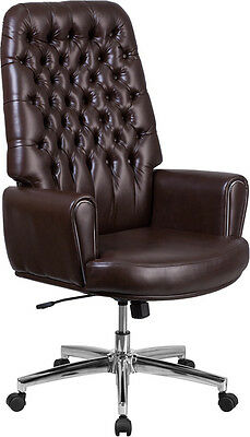 High Back Traditional Tufted Brown Leather Executive Swivel Office Chair W/arms