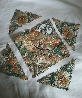 a selection of antique fine detail chinese silk embroidery sections,