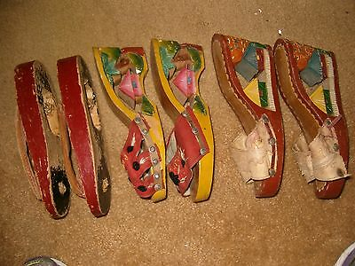 3 Pair WWII Vintage Philippines Hand-carved Wooden Shoes sz?