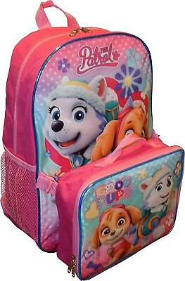 Paw Patrol Girls 15 Inch Backpack with Lunch Kit - Skye and Everest to the...