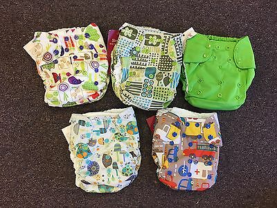 5 Blueberry Simplex One Size Cloth Diapers With Inserts Geo Snails Veggies New