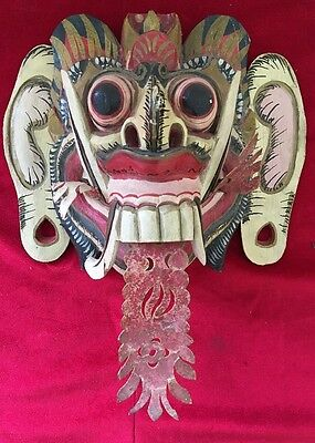 Vintage BALI INDONESIA BARONG Wall MASK Hand Carved Painted