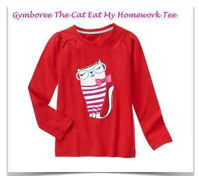 *new* Gymboree Girls Size S 5-6 Mix N Match The Cat Ate My Homework Red Ls Tee