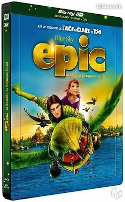 Blu Ray 3D + 2D + DVD : Epic La bataille du royaume secret - Ed Steelbook - NEUF