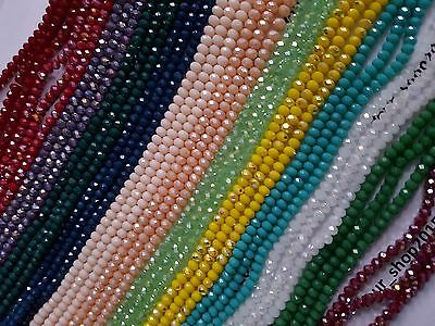 80  Faceted Rondelle Opaque Crystal Glass Loose Beads 3x4mm Jewellery making art