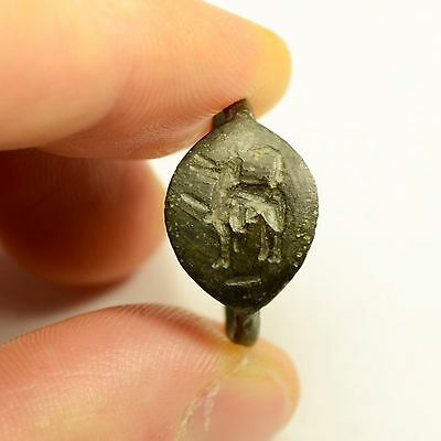 Rare Ancient Greek / Roman Bronze Seal Finger Ring With Horse - Wearable