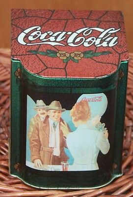 Coca Cola Advertising Tin Box with Attached Lid 1996 Collectible