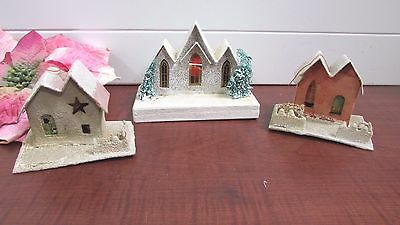 "3 Vintage Mica Putz Houses Made in Japan 2 - 3"" 1 - 4"" Hole for Light in Back"
