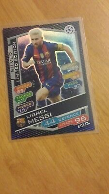 Match Attax Uefa Champions League 2016/17 Lionel Messi Silver Limited Mint