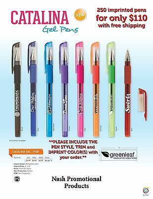 Imprinted Promotional Gel Ink Pens 250, Ships in 2-3 days after proof approval.