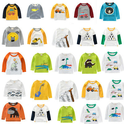 Baby Toddler Kids Boys Print Cotton Long Sleeve T shirts Casual Tee Tops Clothes