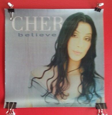 """CHER BELIEVE 12x12"""" TWO SIDED Poster Flat 1998 Promo"""