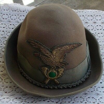 RARE Vintage Antique Men's Hat Military Eagle Italy Saks Fifth Avenue Pure Wool
