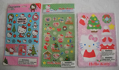 Sanrio Hello Kitty Lot: Glitter & Epoxy Stickers and Holiday Magnetic Sheet