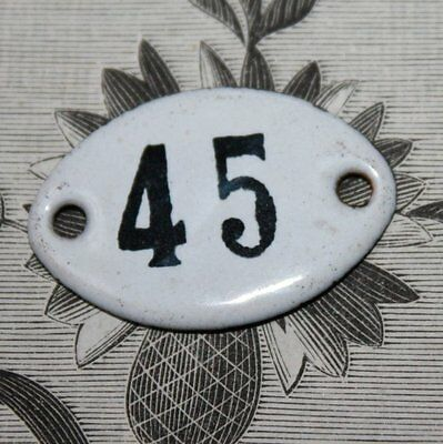Old French Apothecary Porcelain Enamel Number Sign 45