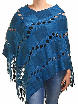 Highness Square Asymmetrical Poncho Womens Regular and Plus Sweater Knit Fringed