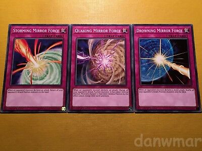 Storming + Quaking + Drowning Mirror Force - YuGiOh! - Brand New - 3 Mint cards