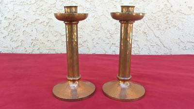2 Chubby Roycroft Hammered Copper Candlesticks Interior Decor Romantic Dinner