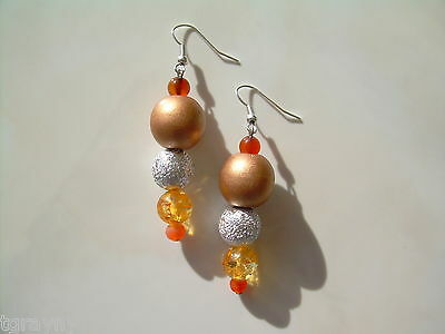 Chunky Painted Wood, Glass, Metal & Lucite Earrings One Of A Kind Handmade HH