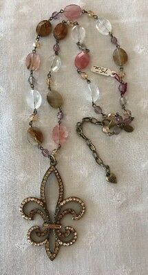 NEW SWEET ROMANCE RENAISSANCE STYLE JEWELED Fleur-De-Lis NECKLACE MADE IN USA