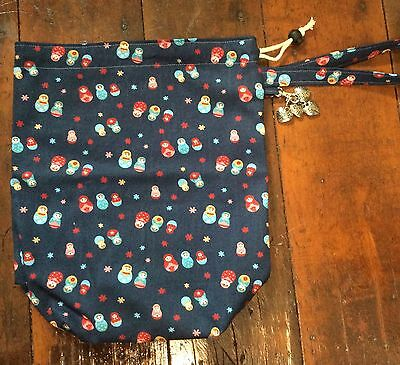 Knitting Project Bag Small Tote Crochet Russian Doll Fabric Hearts Stitchmarkers