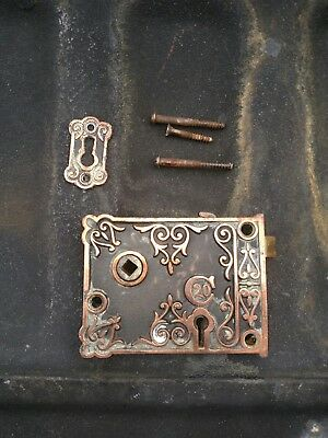 Antique Door Lock Latch Victorian Eastlake (no knobs included) Copper Plated
