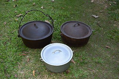 """3 x Antique  Camp Ovens, 15"""" , 14' and 10"""""""