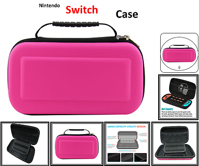 PINK- Hard Protective (HANDLE) Carry Case Cover For Nintendo SWITCH Console Game