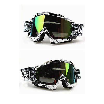 Tinted BLK motocross motorbike goggle anti-fog UV MX dirt PIT pro trail bike ATV