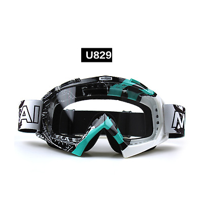 Blue motocross motorbike goggles anti-fog UV protection MX dirt PIT trail bike