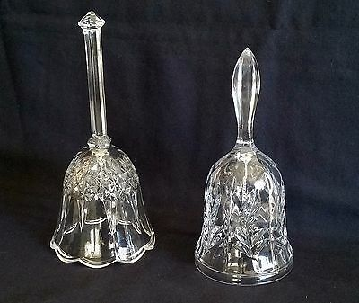 2 Crystal Bells WHEAT PATTERN  & BLOCK w/SCALLOPED RIM w/clappers EUC!