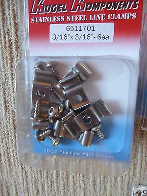 "Kugel Komponents Stainless Steel Double Brake Line Clamps 3/16"" X 6"