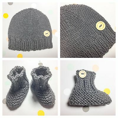Hand Knit Newborn Baby Boy Girl Brown Beanie Hat Booties, Australian Pure Wool