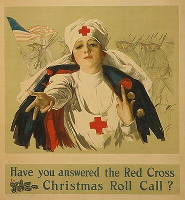 Red Cross Nurse Soldiers Flag Christmas Call Print Poster Harrison Fisher c1918