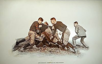 Football History Photo Print Line Charging after Ball has been Snapped