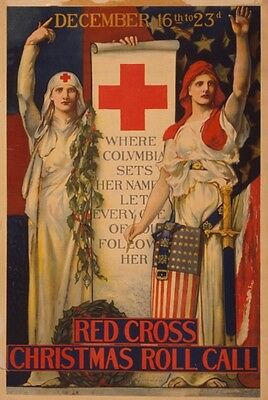 Red Cross E H Blashfield Art Where Columbia sets her name, let every one of you