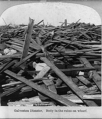 Body in Debris on Wharf after the Great Galveston Hurricane 1900 Disaster