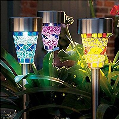 Mosaic Color Light LED Solar Lawn Light Garden Outdoor Landscape Stake Path Lamp