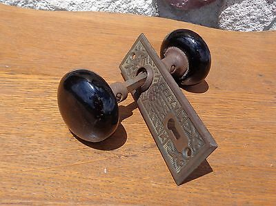 Vintage Antique Black Glass Ceramic Porcelain Door Knob Set w/ Ornate Plate