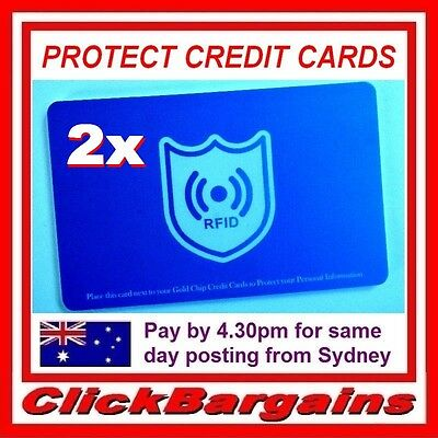 TWO (2x) RFID CREDIT CARD PROTECTORS BLOCKERS prevents fraud scanning and theft