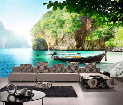 Clear Lake Boat Full Wall Mural Photo Wallpaper Printing 3D Decor Kid Home
